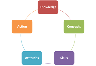 a diagram showing the 5 essential elements of the PYP