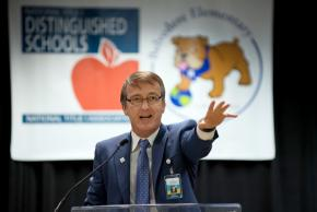 a photo of our superintendent speaking