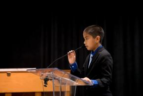 a photo of a student speaking