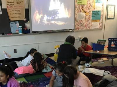 Cozy reading time in fourth grade