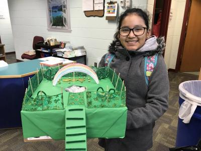 photo of a student and her leprechaun trap